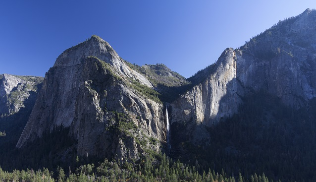 Bridalveil Fall in Yosemite National Park (CA) is a classic example of a hanging valley