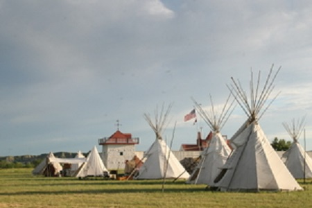 Teepees camped outside of the Fort Union Trading  Port for the annual Rendezvous.