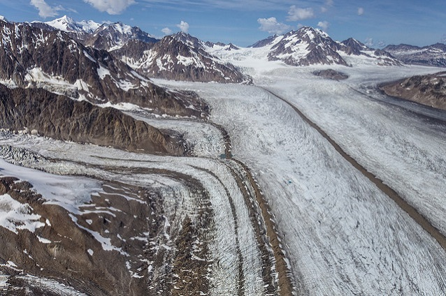 Medial moraines on the surface of several convergent glaciers (Wrangell-St. Elias National Park, AK)