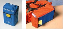 blue fire shelter carrying case and a backpack pouch for fire fighters