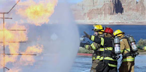 Fire crews practice teamwork and nozzle control
