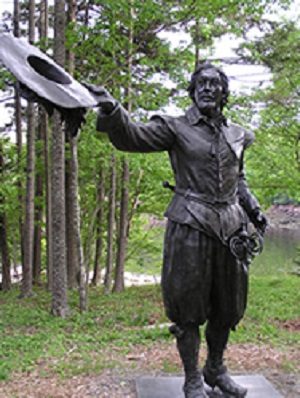 Bronze statue of Pierre Dugua along the interpretive trail