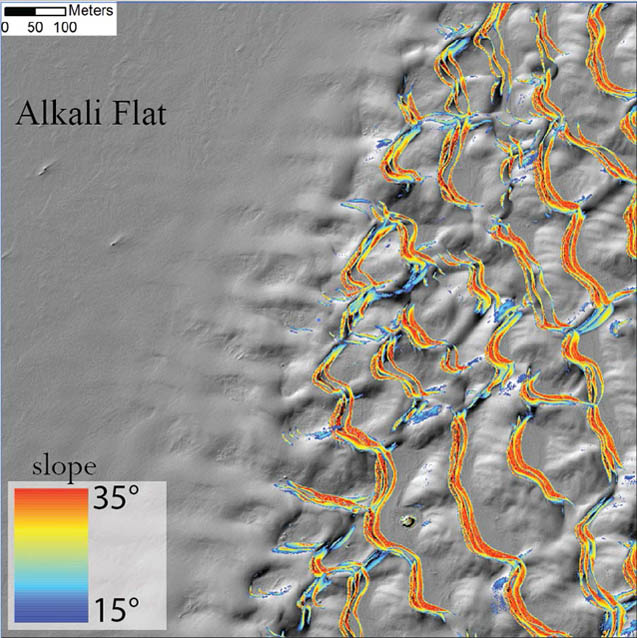 LiDAR-derived digital elevation model showing the transition from flat area to dune field