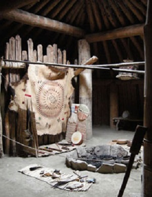 Interior of Reconstructed Earthlodge at Knife River