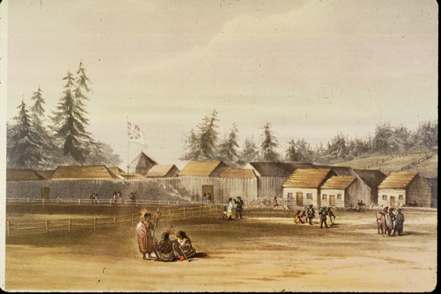 Lithograph showing Fort Vancouver with groups of people