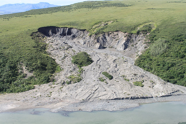 a hillside partially eroded or washed away