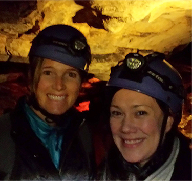 Kate and Pamela Mault with head protection for the Historic Tour Route at Mammoth Cave National Park