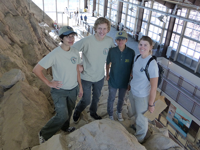 4 interns standing on large quarry wall in park visitor center