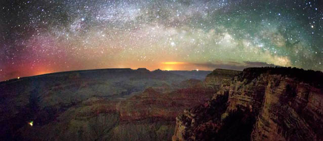 Stars and Milky Way light up the sky over Grand Canyon