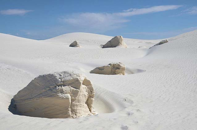 Yardangs eroding at White Sands National Monument