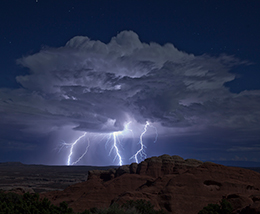 dramatic lightning at night, three strikes