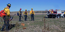 wildland firefighters test the wind before igniting a prescribed fire