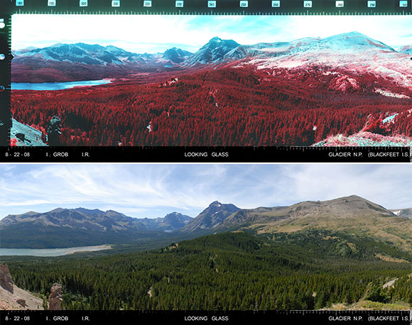 Compare the infrared with the panchromatic film. Looking Glass, Glacier National Park.