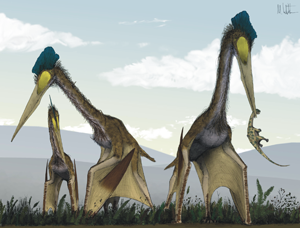Life restoration of a group of Quetzalcoatlus northropi foraging on a Cretaceous fern prairie.