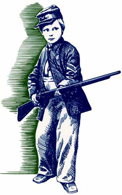 Blue and green woodcut illustration of a young soldier brandishing a rifle