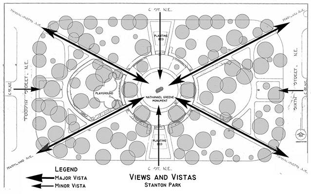 A site plan drawing of the city park shows significant views from and toward the center monument.
