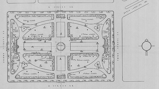 A site plan drawing of a city park shows an oval walkway, central wading pool, and planting plan
