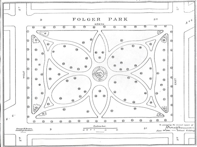 A site plan drawing of a park shows curving symmetrical walkways, a central fountain, and trees.