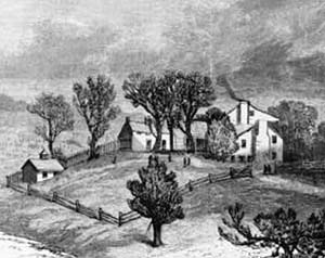 White Haven, ca. 1850. Stone building is visible to the immediate left of the main house.