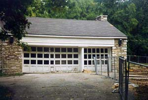 The stone building rebuilt as a garage.