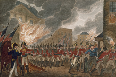Painting of British troops in red coats with muskets storming Washington
