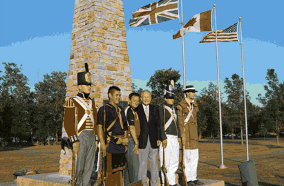 Canadian, British and American flags at Battle of Chippawa Monument