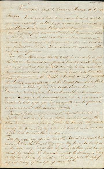 Speech from Shawnee Chief Tecumseh to governor William Henry Harrison