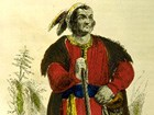 Drawing of Tecumseh holding rifle
