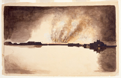 Watercolor painting of Washington, D.C. burning in 1814