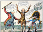 King George and Napoleon force Thomas Jefferson to put his hands up and rob him