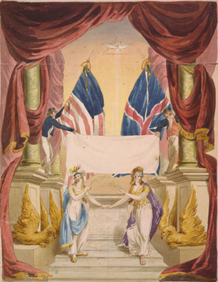Painting of Britannia and Columbia holding hands and celebrating the peace