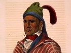 Portrait of Creek leader Menawa, with painted face and feathered hat