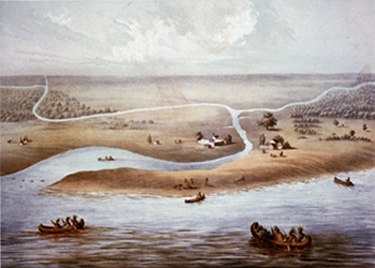 Painting of Chicago in 1820, surrounded by water and American Indians in canoes