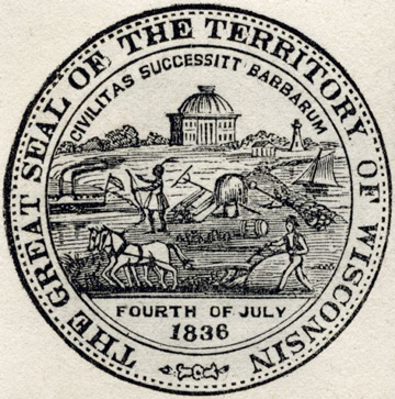 Seal of Wisconsin: a farmer and steamboat surrounding an Indian