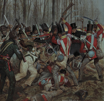 Battle scene from New Orleans with British troops in red coats battling well-dressed black soldiers