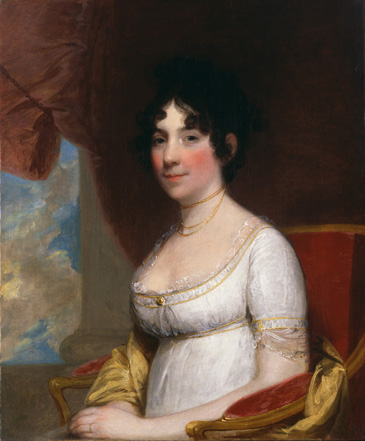 Portrait of First Lady Dolley Madison in a white dress