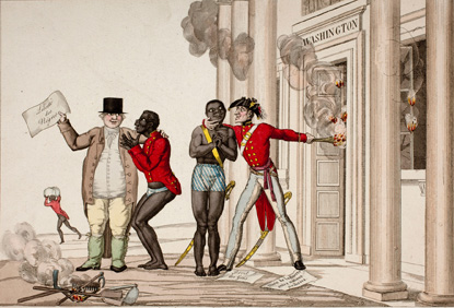 Political cartoon: British soldiers leading slaves away from burning building