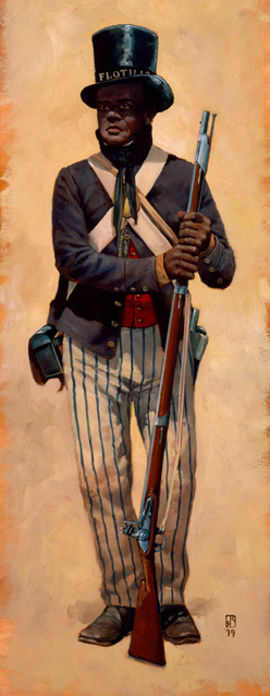 Drawing of Charles Ball, black sailor in uniform holding a musket