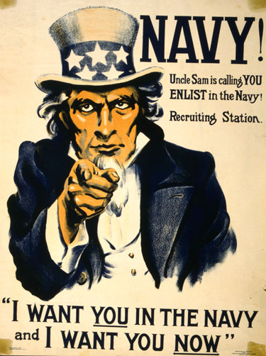Navy poster of Uncle Sam wearing top hat, pointing