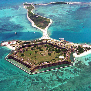 Fort Jefferson surrounded by ocean