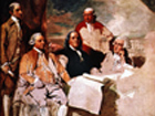 Unfinished painting of Benjamin Franklin and George Washington