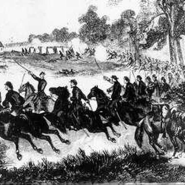 A cavlary charge during the Battle of Honey Springs