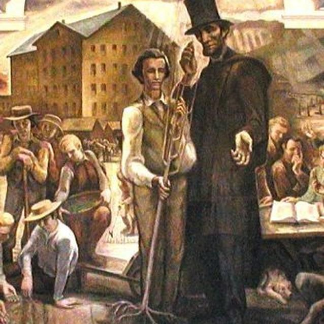 Photo of the allegorical Land Grant Fresco from Penn State University which depicts Lincoln presenting a rooted sapling to a student.