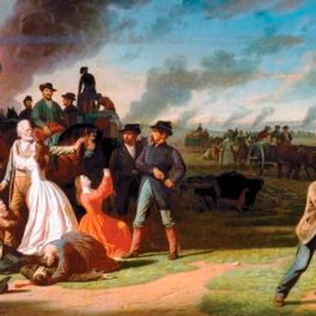 Painting showing removal of Missouri civilians from their homes by Union troops