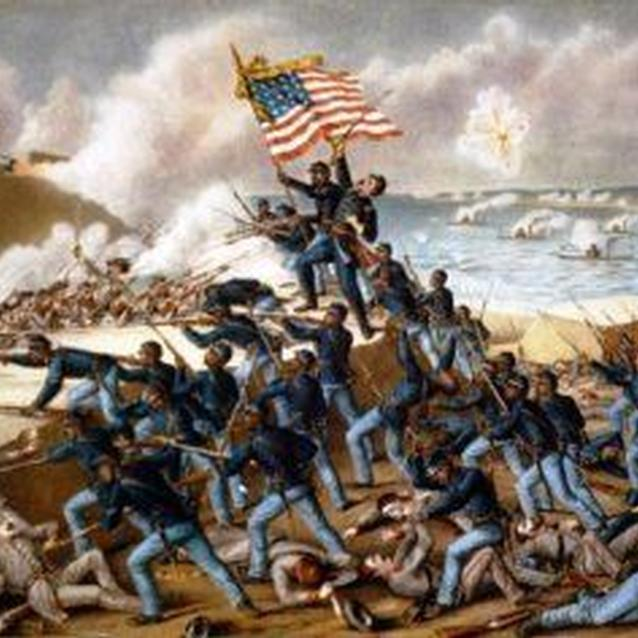 A lithograph of the 54th Massachusetts' assault on Fort Wagner