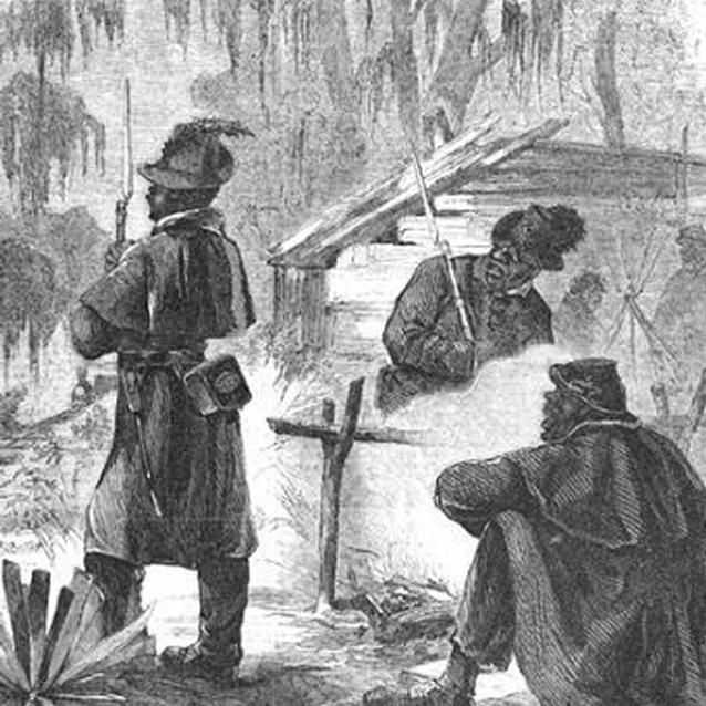 Lithograph of pickets of the Louisiana Native Guard on patrol.
