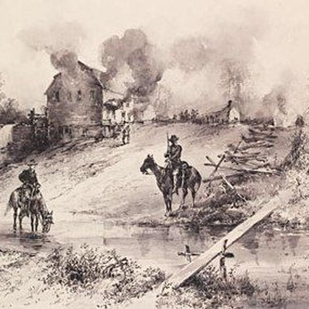 Period sketch of Union cavalry burning the Shenandoah Valley in the fall of 1864
