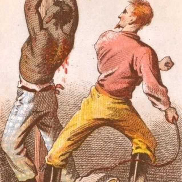 Color engraving of slave being whipped.