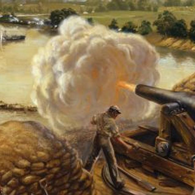 Painting of Confederate troops at Drewry's Bluff firing cannon at Union gunboats
