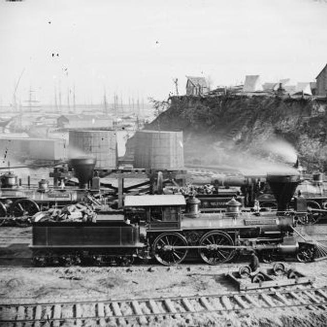 Photo of locomotive at Union army supply base at City Point